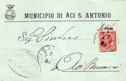 1909 CARTOLINA CON ANNULLO ACI S. ANTONIO CATANIA - Marcofilía