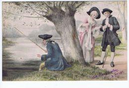 Illustrateur Willms ,partie De Pêche , Costumes 18eme - Illustrators & Photographers