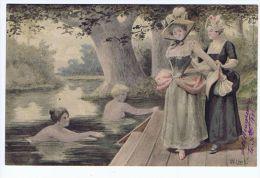 Illustrateur Willms ,au Bord De L'eau, Baigneuses , Costumes 18eme - Illustrators & Photographers