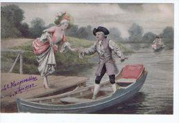 Illustrateur Willms ,Promenade En Barque , Costumes 18eme - Illustrators & Photographers