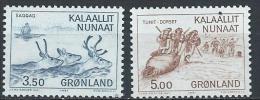 Groënland 1981 N°119/120 Neufs Culture Esquimaude Chasse Aux Rennes Et Aux Morses - Greenland