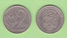 CHECOSLOVAQUIA   2 CORONAS  1.973  CU NI  KM#75    VF/MBC    DL-11.149 - Checoslovaquia