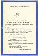 Vincent VAN CAILLIE - Oostende 1933 - (Fam Van Caillie, Van Der Meersch, Duriez, Le Gentil, Carbon-Hamman - Obituary Notices