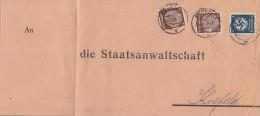DR Briefvorderseite Mif Minr.2x 518 POL-Lochung, D133 Essen 27.8.35 - Dienstpost
