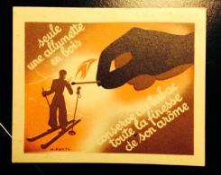 Belle Image Années 1950 Illustrateur Ponty Allumette Tabac Sport Ski Skieur Main Flamme - Cromos