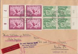 DR Brief Eilbote Mif Minr.4x 709 4er Block, 4x 732 4er Block Wittenberg 6.4.40 - Germany