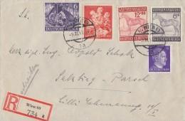 DR R-Brief Mif Minr.785,834,857,858,859 Wien 9.11.43 - Deutschland