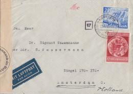 DR Brief Luftpost Mif Minr.742,744 Nürnberg 22.4.40 Gel. Nach Holland Zensur - Briefe U. Dokumente