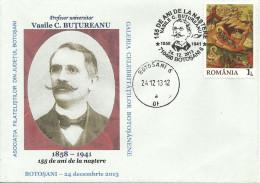 Romania / Special Cover With Special Cancellation / Vasile BUTUREANU - Celebridades