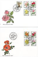 23072 - Deux Enveloppes Suisses Avec Deux Séries Avec Roses - Oblitérations Spéciales 1er Jour - Roses