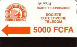COTE D IVOIRE IVORY COAST 5000F CI TELCOM UT - Côte D'Ivoire