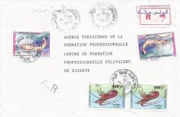 Tunisia 1999 Tunis Shrimp Lobster AR Advice Of Receipt Registered Cover - Tunesië (1956-...)