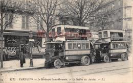 75 - PARIS - Le Boulevard Saint Germain - La Station Des Autobus - écrite 1915  - 2 Scans - Distrito: 04