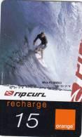 REUNION ISL. - Rip Curl, Mick Fanning, Orange Recharge Card 15 Euro, Exp.date 12/05, Used