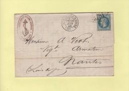 St Nazaire Sur Loire - 42 - Loire Inferieure - Gc 3781 - Courrier Courtier Maritime - 23 Juin 1869 - 1849-1876: Période Classique