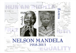 sam1404s1 Samoa 2014 Nobel Prize Nelson Mandela s/s