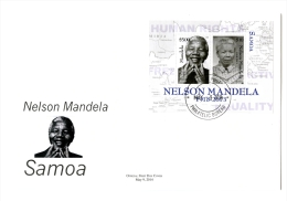 sam1404s1F Samoa 2014 Nobel Prize Nelson Mandela s/s FDC