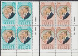 BELIZE, 1973 ROYAL WEDDING 2 CNR BLOCKS 4 MNH - Belize (1973-...)