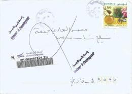 Tunisia Tunisie 2014 Ben Arous Sud Biological Honey Bee Returned Sender Handstamp Domestic Barcoded Registered Cover - Tunesië (1956-...)