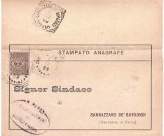 1902 TIMBRO OVALE COMUNE DI CASTELLO D'AGOGNA E TRQ SANNAZZARO DE' BURGONDI PAVIA - 1900-44 Vittorio Emanuele III