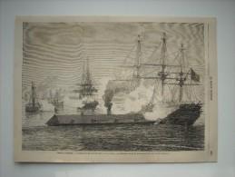 GRAVURE 1862. GUERRE D'AMERIQUE. COMBAT NAVAL DE NEW-PORT-NEWS, 8 ET 9 MARS. LE MERRINAC COULANT LE CUMBERLAND......... - Stiche & Gravuren