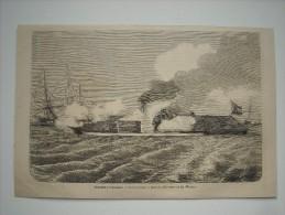 GRAVURE 1862. GUERRE D'AMERIQUE. COMBAT NAVAL A BORD DU MERRINAC ET DU MONITOR. - Stiche & Gravuren