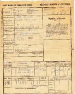 FRANCE SNCF Récépissé Expédition Wagons Gare  SERS DIGNAC Petite Vitesse 25 Février 1943 - Transport