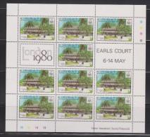Kiribati 1980 London Stamp Exhibition Set 4 In MNH Sheetlets Of 10 With Labels & Gutter Pairs - Ship Plane Communication - Kiribati (1979-...)