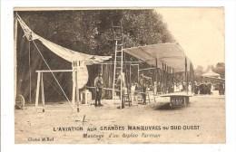 AVIATION - AVION - GRANDES MANOEUVRES DU SUD OUEST - MONTAGE D´UN BIPLAN FARMAN