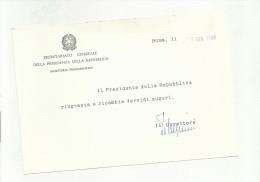 CARTONCINO SEGRETARIATO GENERALE DELLA PRESIDENZA DELLA REPUBBLICA - Cartoncini Da Visita