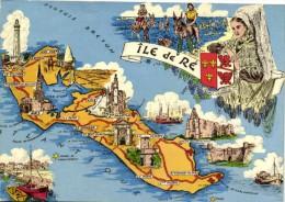 ILE De  RE Plan Contour MultivuesBlason  Recto Verso - Maps