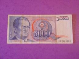 Yougoslavie 5000 Dinara 1985 P93b - Jugoslavia