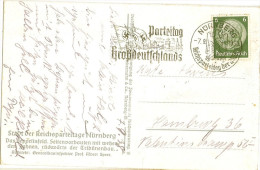 NÜRNBERG Stadt Der Reichs Parteitage Sonderstempel 7.9.1938 Auf AK Zeppelinfeld Fahnenschmuck Swastika Albert Speer - Nürnberg