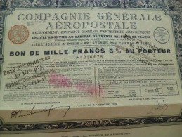 Action Compagnie Générale Aéropostale. 1929 - Aviazione