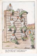 Humor Kaserne Ausbildung eiskalte Bierwand Eskaladierwand Pyramide gelaufen mit Ortsstempel KREFELD 4.8.1943 Feldpost