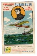 Chromo Pour Margarine Ruban Bleu, Aviation, Avion, Latham - Kaufmanns- Und Zigarettenbilder
