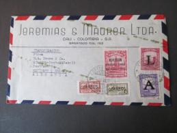 Kolumbien Transoceanico Beleg 1952. Marken Mit Aufdruck. MiF - Kolumbien