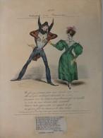 Déclaration D´un ROMANTIQUE,  TB Litho  ORIGINALE XIXème Colorisée,  Ref 146 - Estampes & Gravures