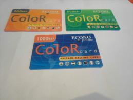 BELGIUM - FULL SET 3 values prepaid phonecard Econophone 'color'