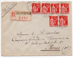 Paix 50c X6 Sur Lettre Recommandée De 1940 - Postmark Collection (Covers)