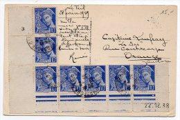 Mercure10c X7 Sur Carte De 1939 - Postmark Collection (Covers)