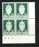 Norvège Service 1955-76 ** Y&T 73B Bloc 4 Phosphore - Service