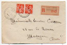 Iris 1f50 Orange X2 Sur Lettre Recommandée De 1941 - 1921-1960: Modern Period