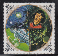 Burundi Used Scott #C185 Block Of 4 27fr Copernicus, Planets - 500th Birth Anniversary Of Nicolaus Copernicus - Burundi