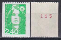 2823aMarianne Du Bicentenaire 2f40 Vert (roulette Avec Numéro Rouge) - 1989-96 Marianna Del Bicentenario