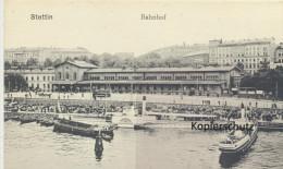 Ansichtskarte Stettin, Bahnhof - Pommern