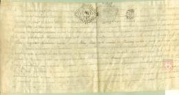 France - 33 - Bordeaux -  Cachet Généralité N° 228 - 8 Sol  Et N° 239 - 13 Sol  4 Den Sur Acte De Vente De 1739 - Algemene Zegels