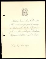 Liège, Le 9 Août 1893- Melle Thiriar & Mr Duchesne, Professeur à L´Athénée Royale De Liège. - Mariage