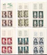 Série Célébrités Du XIII Au XIXème De 1957 - 4 Timbres De Chaque (n°1108 à 1113) - Feuilles Complètes