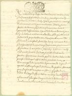 France - 33 - Bordeaux -  Cachet Généralité N° 133 -  Seize Den  - Acte De 1694 - Algemene Zegels